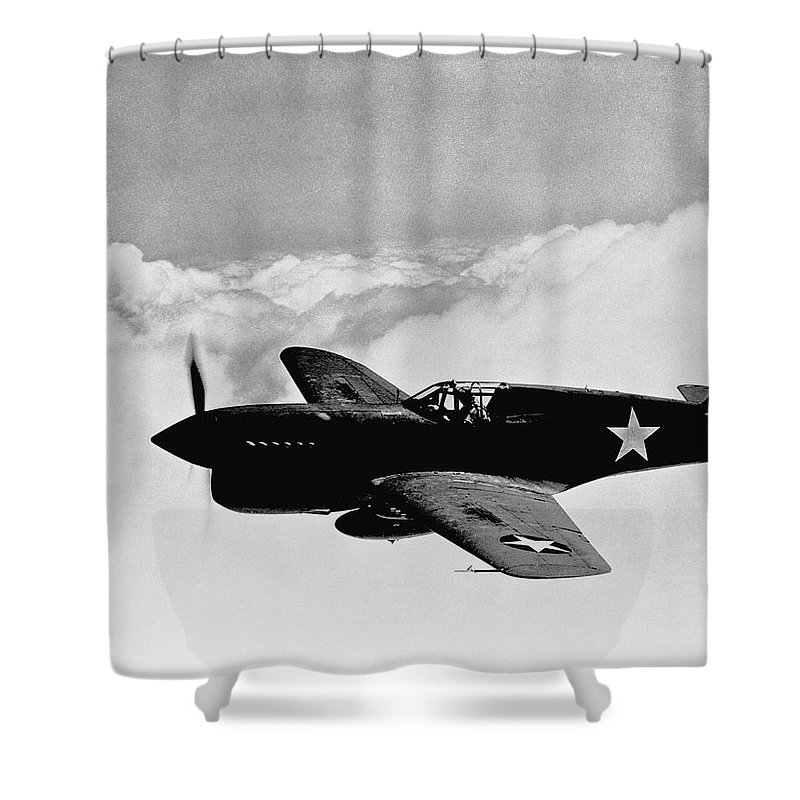 Ww2 Shower Curtain featuring the photograph P-40 Warhawk by War Is Hell Store