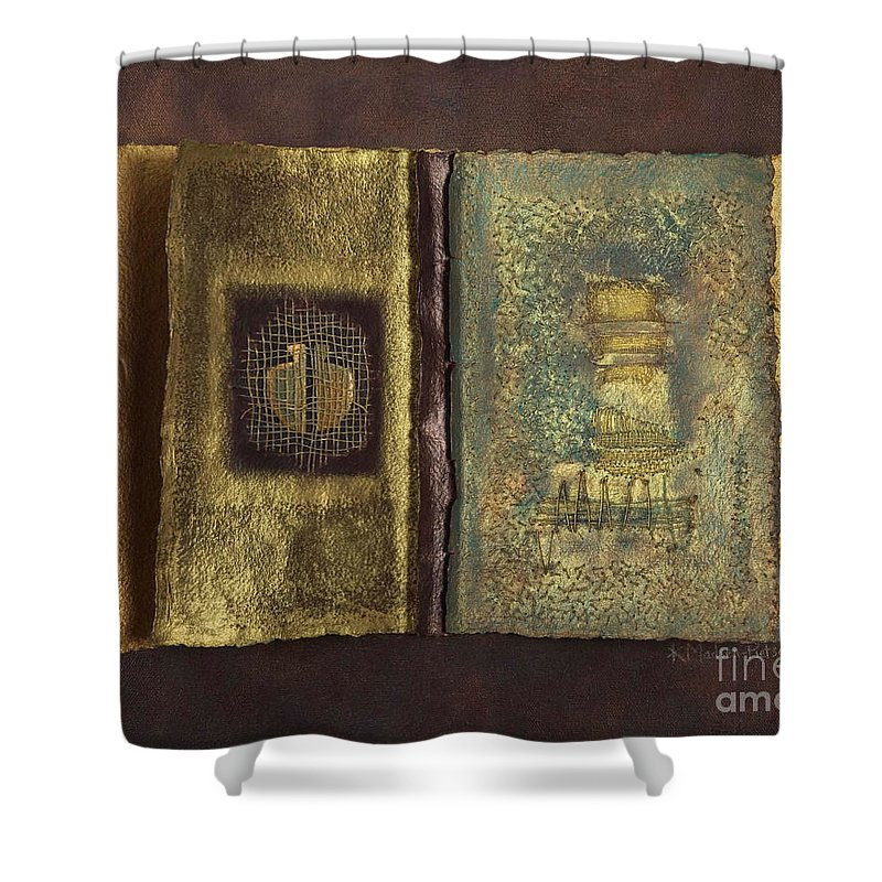 Artist-book Shower Curtain featuring the mixed media Page Format No 1 Transitional Series by Kerryn Madsen-Pietsch