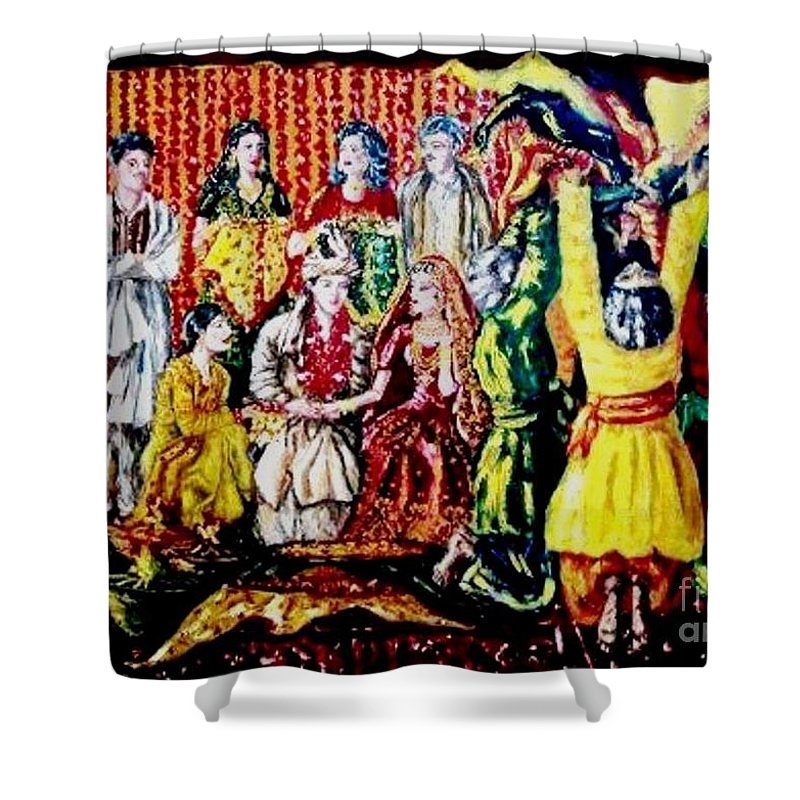 Oil Painting Shower Curtain featuring the painting Pakistani Wedding by Fareeha Khawaja