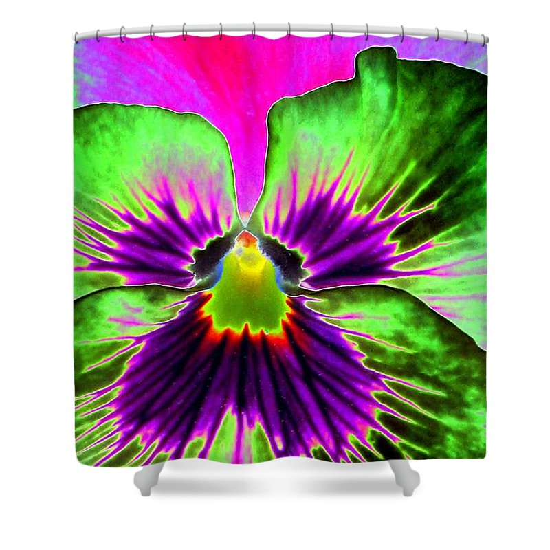 Pansy Shower Curtain featuring the photograph Pansy Power 82 by Pamela Critchlow
