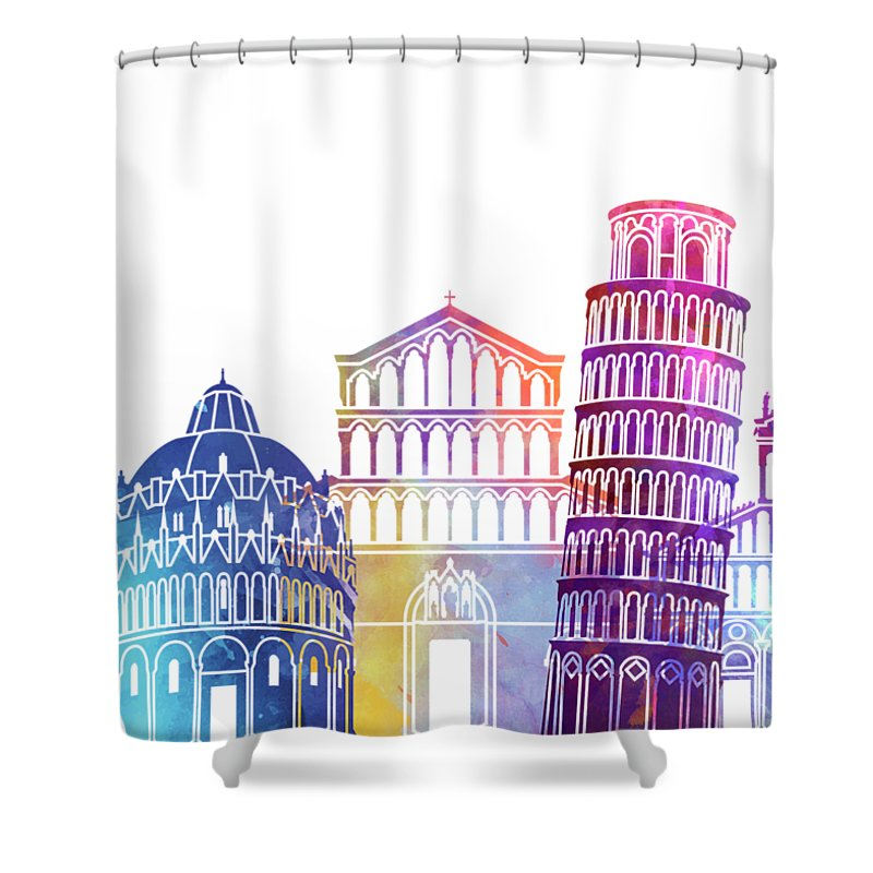 Europe Shower Curtain featuring the painting Pisa Landmarks Watercolor Poster by Pablo Romero