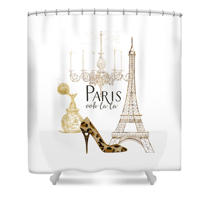 Fashion Shower Curtain featuring the painting Paris - Ooh La La Fashion Eiffel Tower Chandelier Perfume Bottle by Audrey Jeanne Roberts
