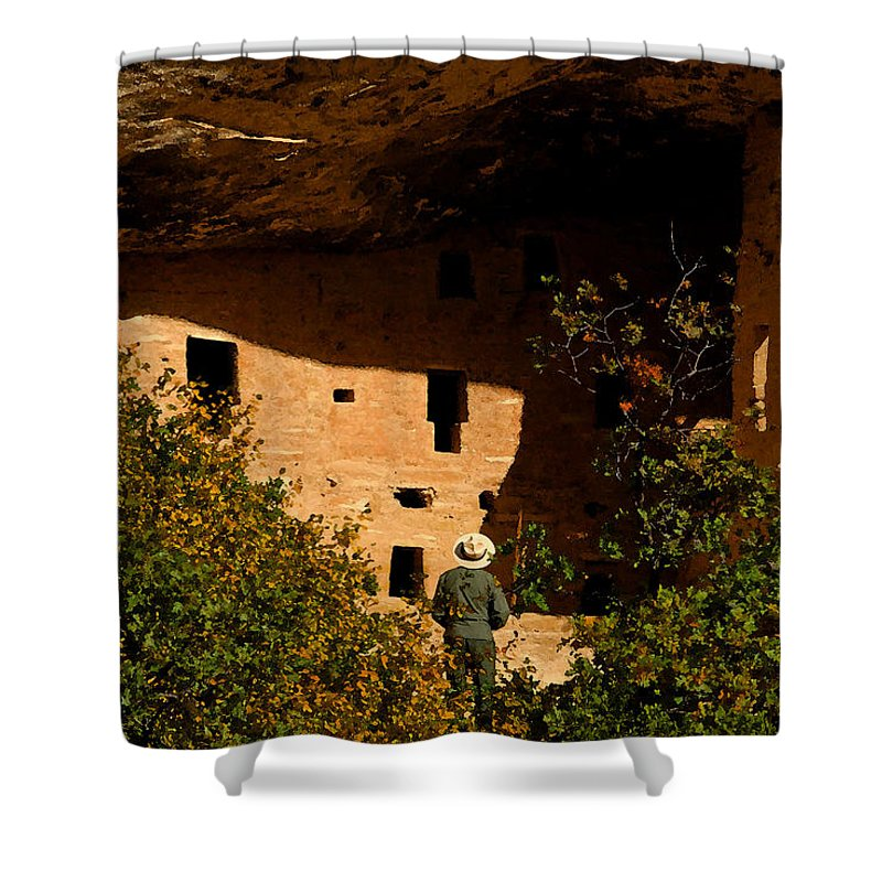 Mesa Verde National Park Colorado Shower Curtain featuring the painting Park Ranger by David Lee Thompson