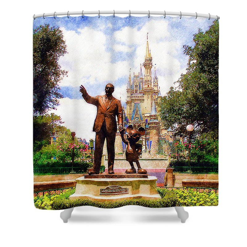 Disney Shower Curtain featuring the digital art Partners by Sandy MacGowan
