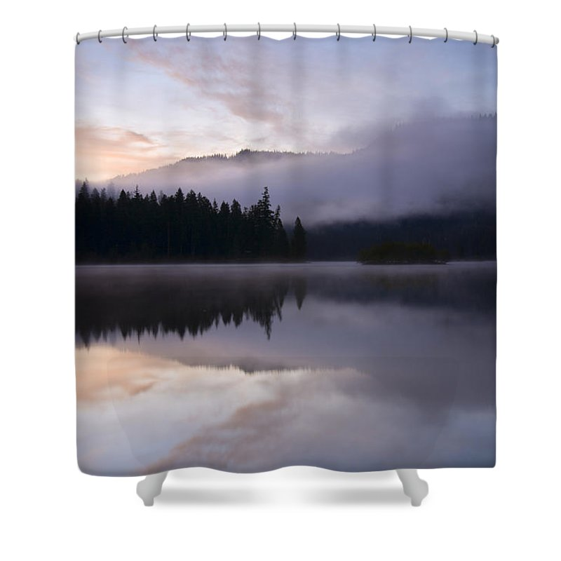 Fog Shower Curtain featuring the photograph Pastel Dawn by Mike Dawson