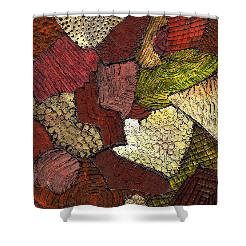 Patchwork Shower Curtain featuring the painting Patchwork by Wayne Potrafka
