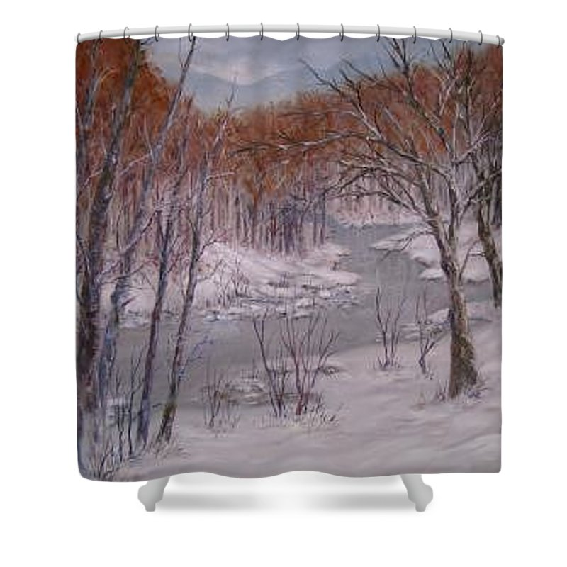 Snow; Landscape Shower Curtain featuring the painting Peace And Quiet by Ben Kiger