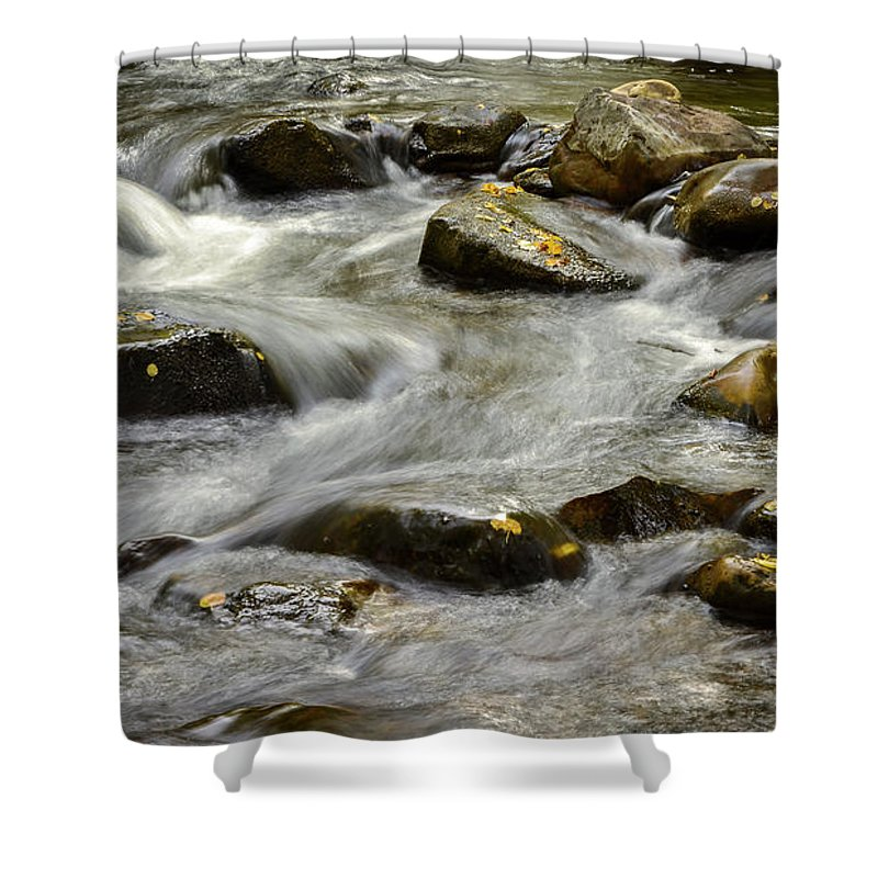 Shower Curtain featuring the photograph Pebble Creek by Dan Kinghorn