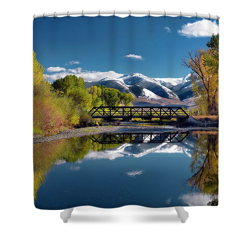 Idaho Scenics Shower Curtain featuring the photograph Perfect Autumn Day by Leland D Howard