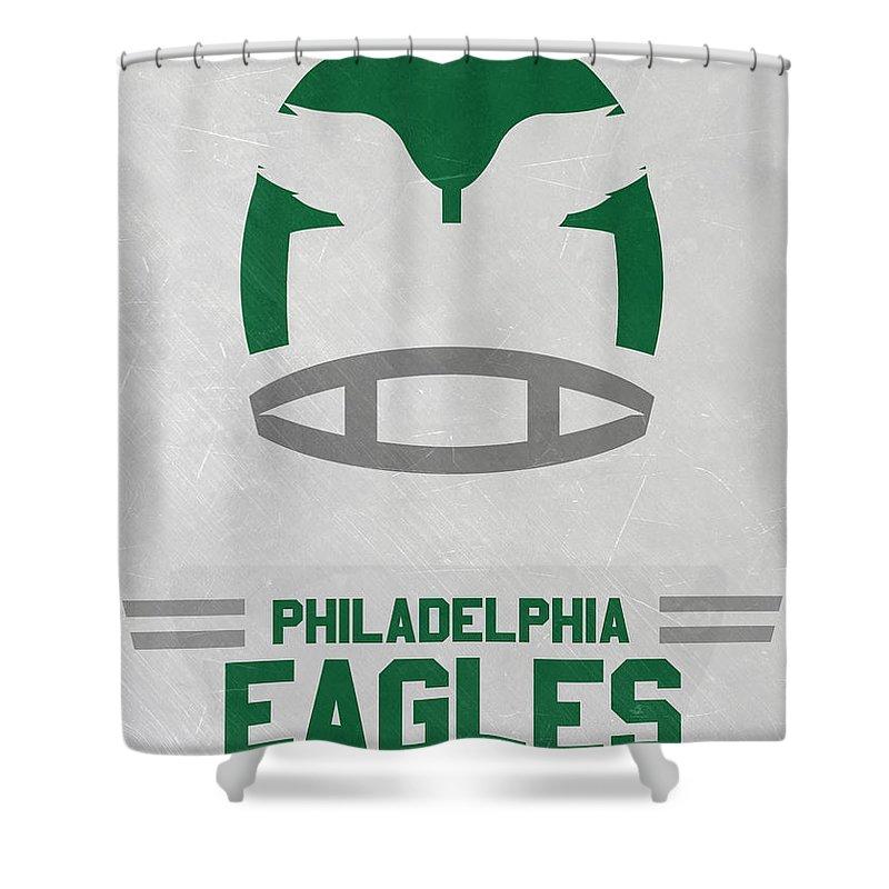 Eagles Shower Curtain featuring the mixed media Philadelphia Eagles Vintage Art by Joe Hamilton