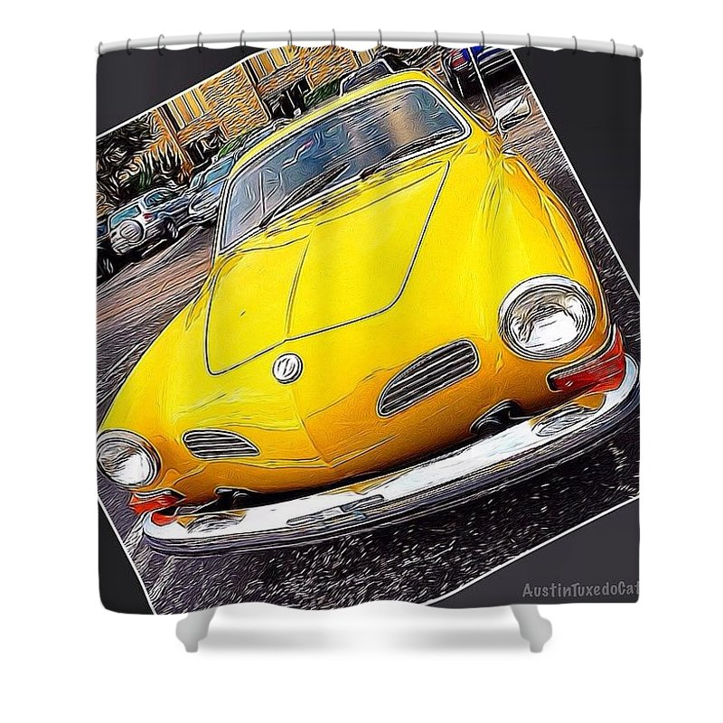 Sportscar Shower Curtain featuring the photograph Photoshopping The #yellow #karminnghia by Austin Tuxedo Cat