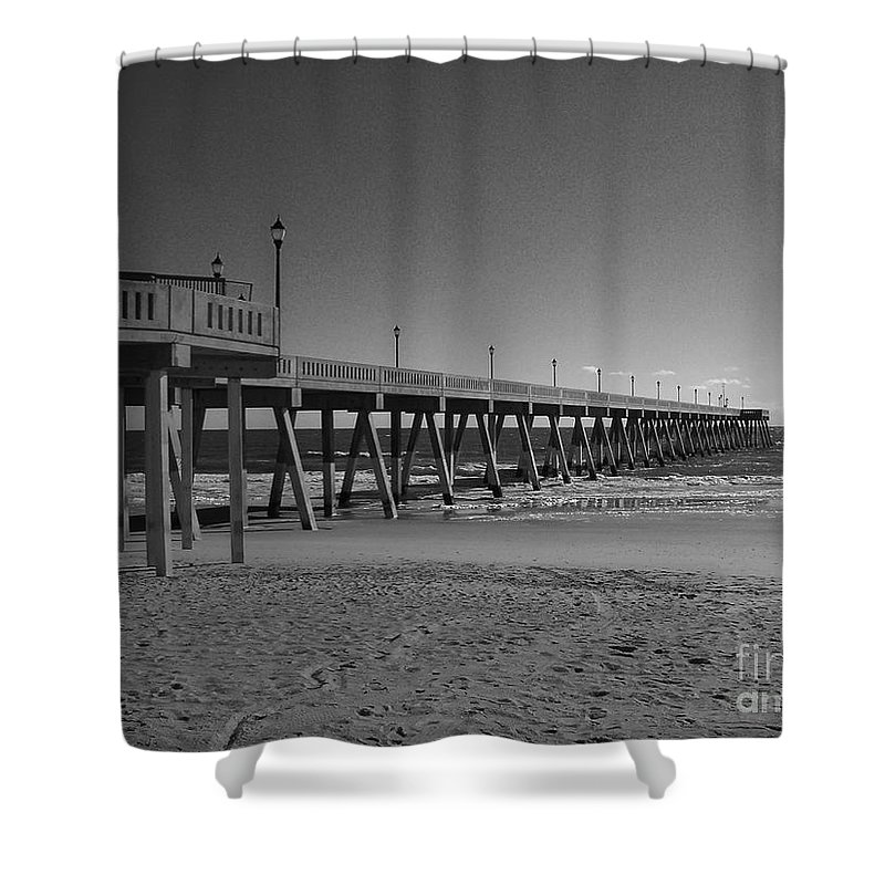 Pier Shower Curtain featuring the photograph Pier Willmington Nc by Tommy Anderson