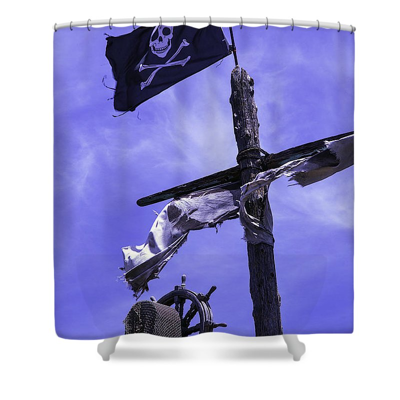 Pirate Shower Curtain Featuring The Photograph Flag On Ships Mast By Garry Gay