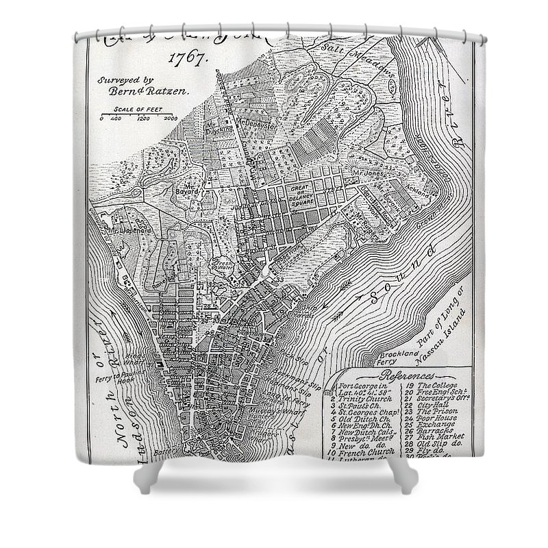 Mapping; Cartography; Territory; Manhattan; Map; Nyc; Usa; United States ; America; American; Metropolis Shower Curtain featuring the painting Plan of the City of New York by American School