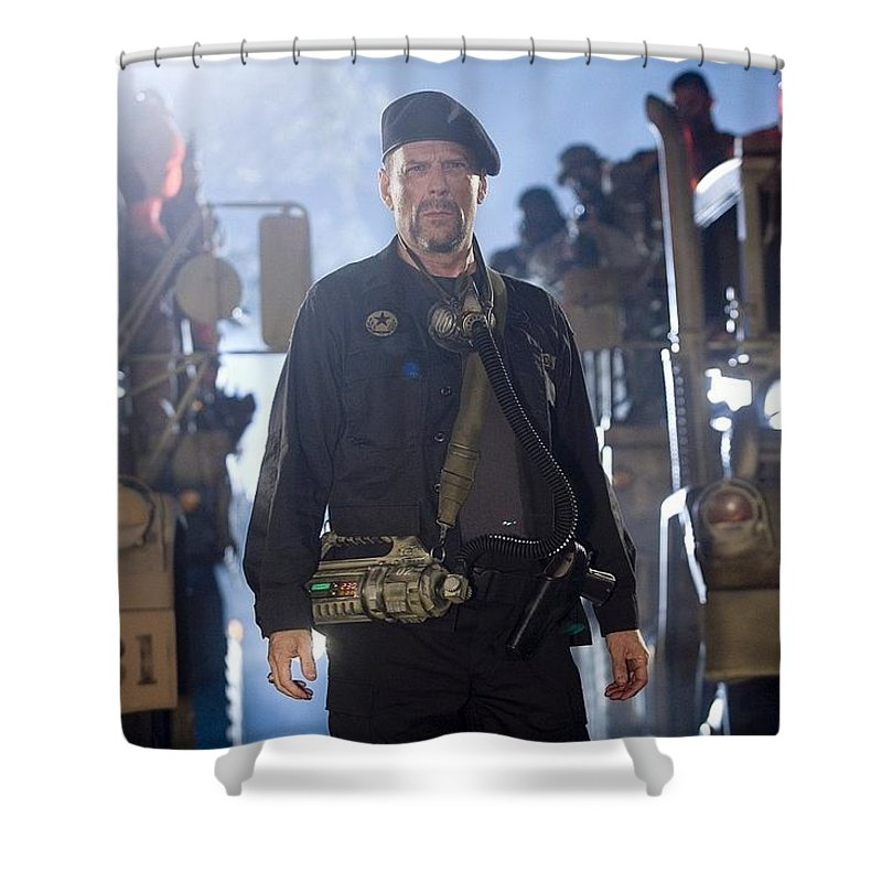 Planet Terror Shower Curtain featuring the digital art Planet Terror by Mery Moon