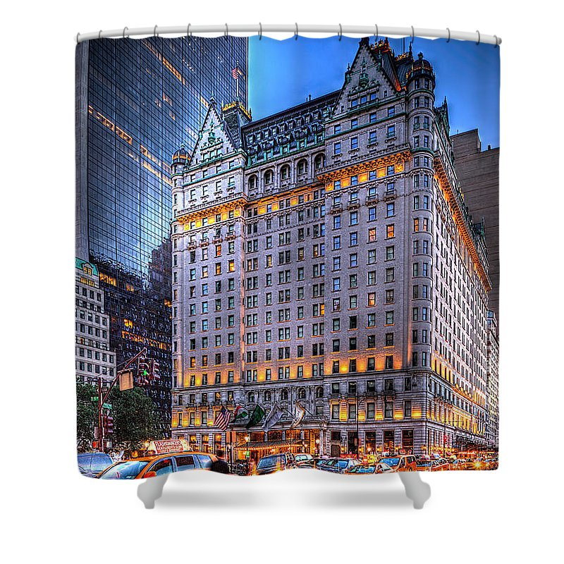 Architecture Shower Curtain featuring the photograph Plaza Hotel by Kenneth Grant