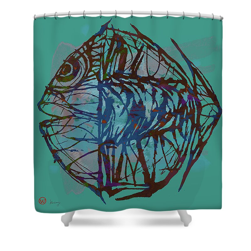 Species In This Group Are Sourced From Tropical Regions Throughout The World Shower Curtain featuring the mixed media Pop Art - New Tropical Fish Poster by Kim Wang