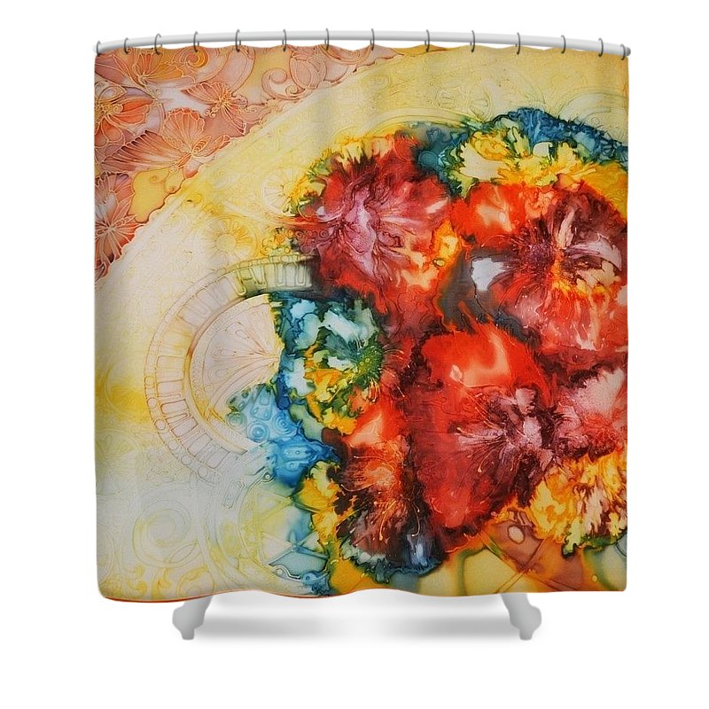 Painting On Silk Shower Curtain featuring the painting Poppies by Natali Sokolova