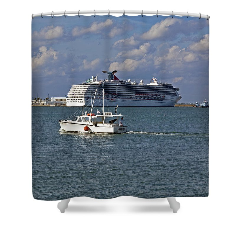 Port Shower Curtain featuring the photograph Port Canaveral In Florida by Allan Hughes
