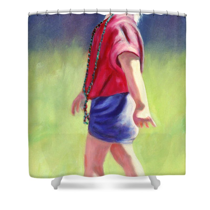 Child Shower Curtain featuring the painting Pretty In Pink by Shannon Grissom