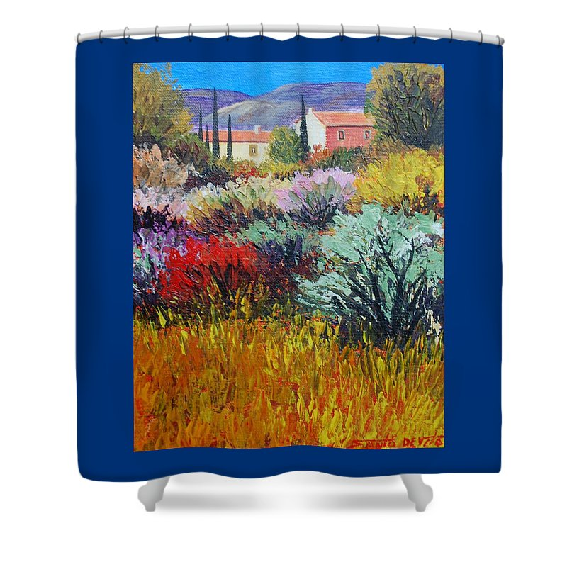 Impressionist Landscape Shower Curtain featuring the painting Provence In Bloom by Santo De Vita