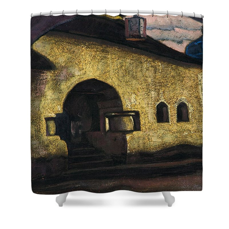 Architectural Shower Curtain featuring the painting Pskov by Nicholas Roerich