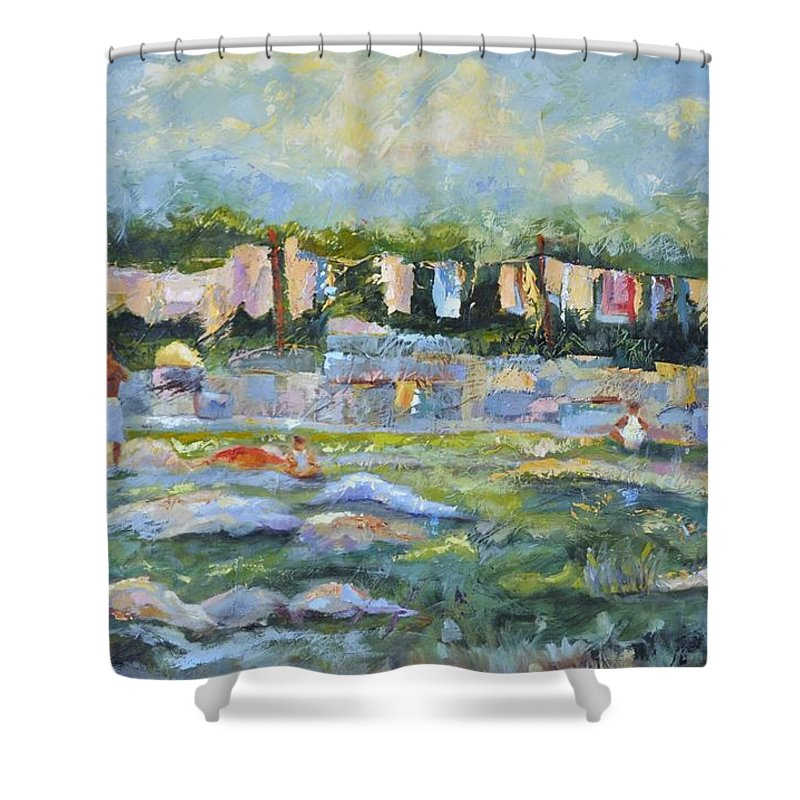 Mumbai Public Scenes Shower Curtain featuring the painting Public Laundry Mumbai by Ginger Concepcion