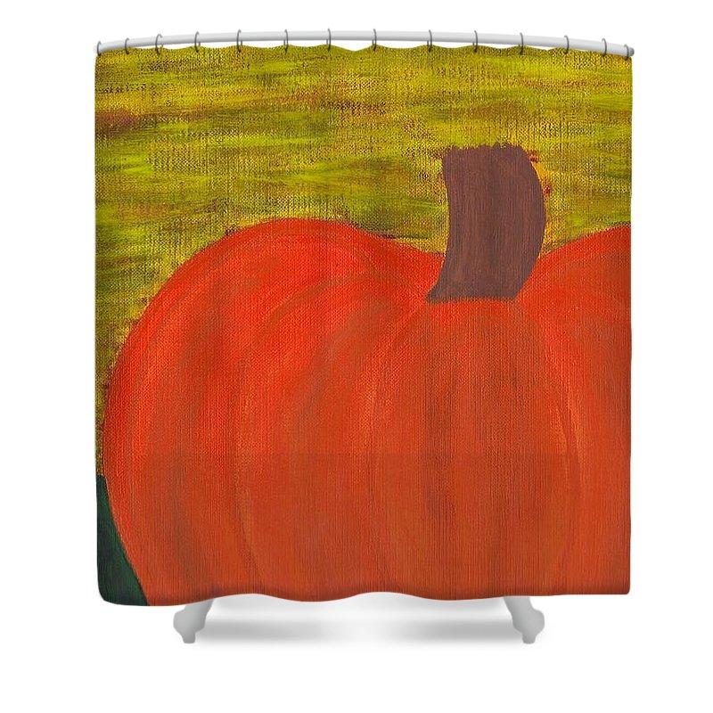 Pumpkin Shower Curtain featuring the painting Pumpkin by Jill Christensen