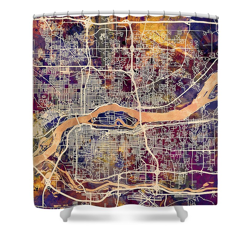 Street Map Shower Curtain featuring the digital art Quad Cities Street Map by Michael Tompsett