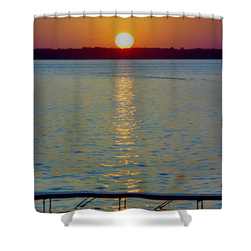 Sunset Shower Curtain featuring the photograph Quite Pier Sunset by Randy Oberg