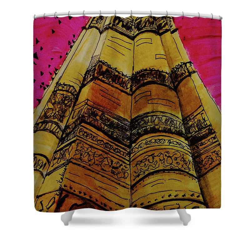 Qutab Minar Of India Shower Curtain featuring the painting Qutab Minar Of India, Monument Of India by Kanika