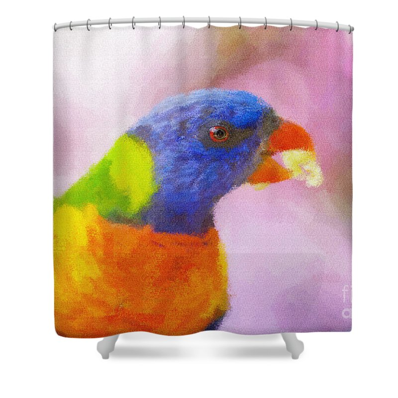Rainbow Lorikeet Shower Curtain featuring the photograph Rainbow Lorikeet by Sheila Smart Fine Art Photography