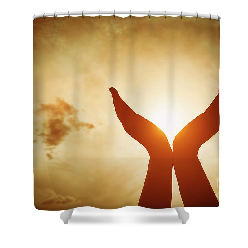 Hands Shower Curtain featuring the photograph Raised Hands Catching Sun On Sunset Sky. Concept Of Spirituality, Wellbeing, Positive Energy by Michal Bednarek