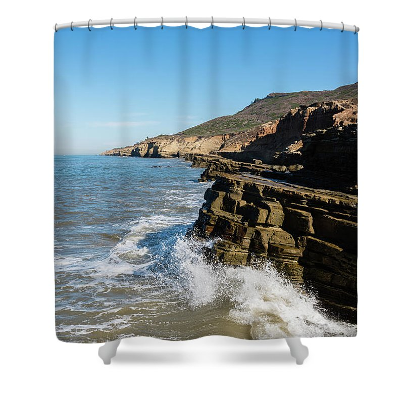 Point Loma Tide Pools Shower Curtain featuring the photograph Point Loma Tide Pools Area by Robert VanDerWal