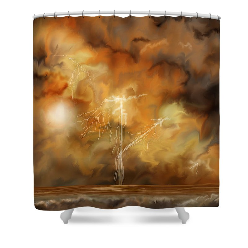 Anne Norskog Shower Curtain featuring the painting Raw Power by Anne Norskog