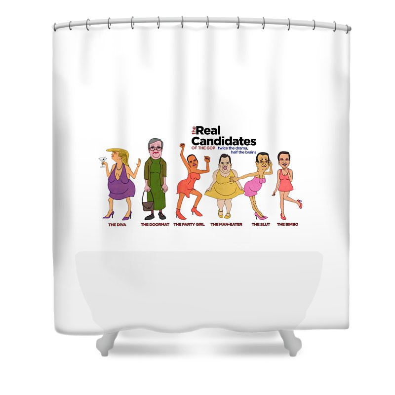 Donald Trump Political Cartoon Shower Curtain Featuring The Painting Real Candidates Of Gop Clear