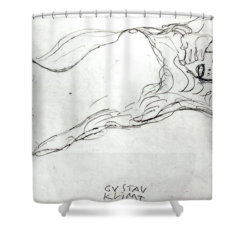 Klimt Shower Curtain Featuring The Drawing Reclining Woman By Gustav