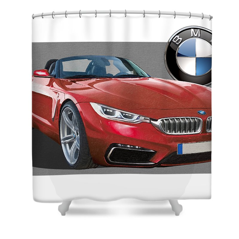 �bmw� Collection By Serge Averbukh Shower Curtain featuring the photograph Red 2018 B M W Z 5 With 3 D Badge by Serge Averbukh