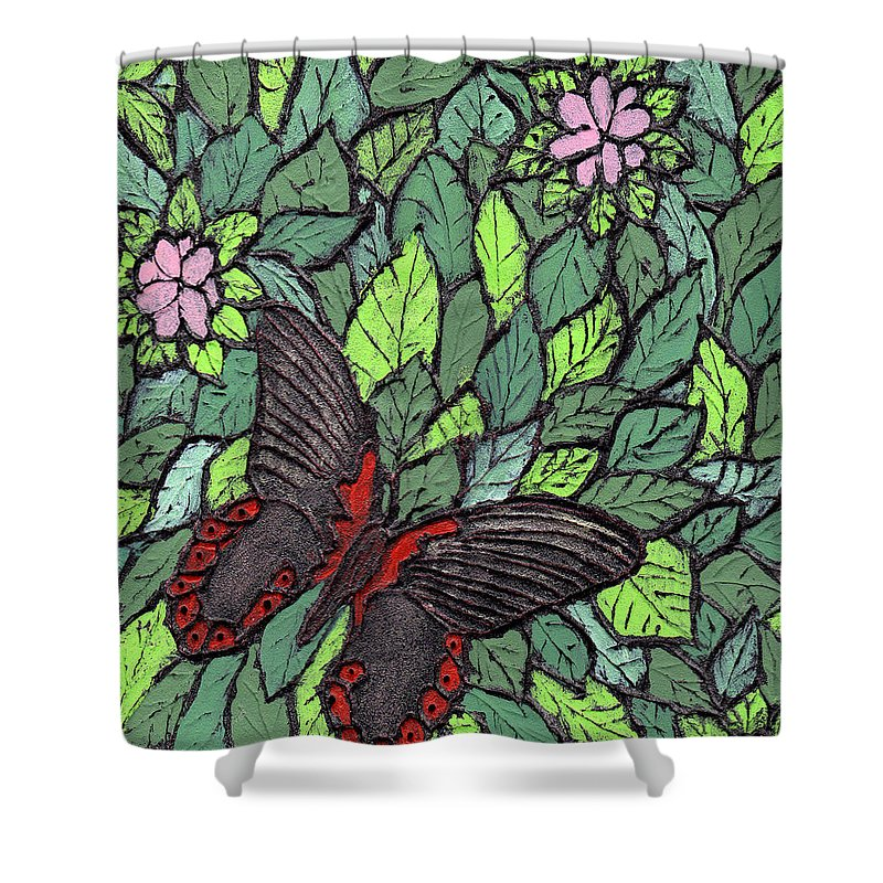 Butterfly Shower Curtain featuring the painting Red Butterfly by Wayne Potrafka