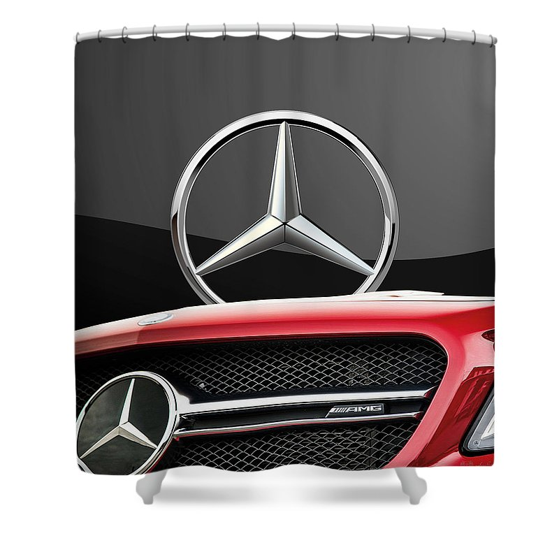 'auto Badges' By Serge Averbukh Shower Curtain featuring the photograph Red Mercedes - Front Grill Ornament And 3 D Badge On Black by Serge Averbukh