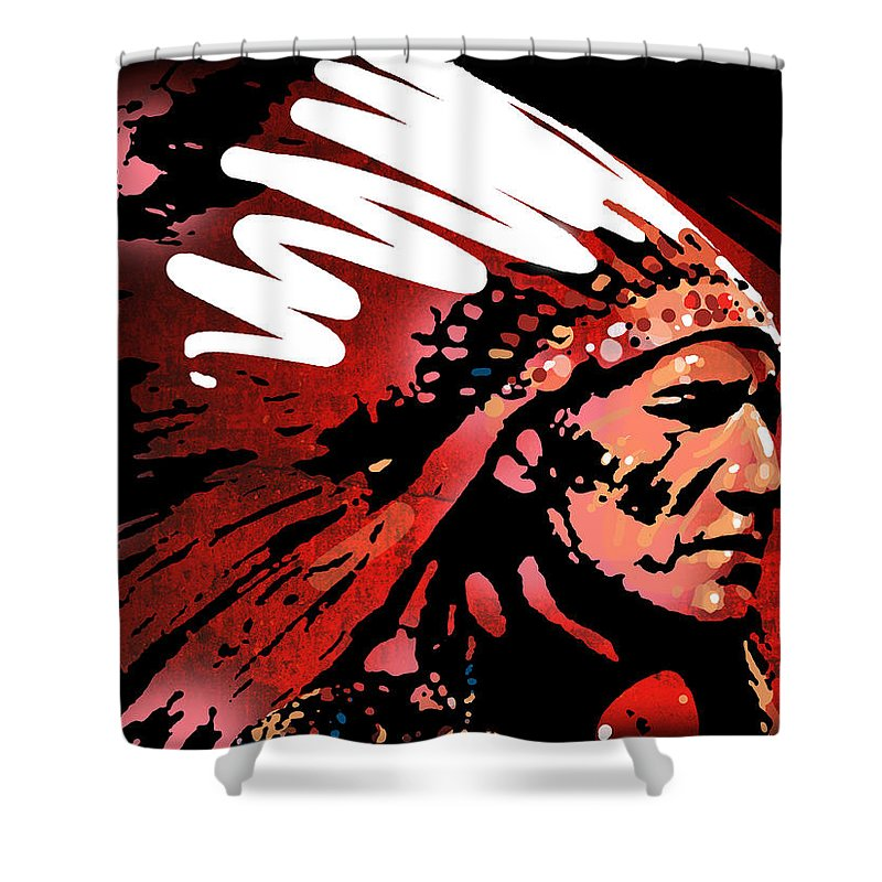 Native American Shower Curtain featuring the painting Red Pipe by Paul Sachtleben