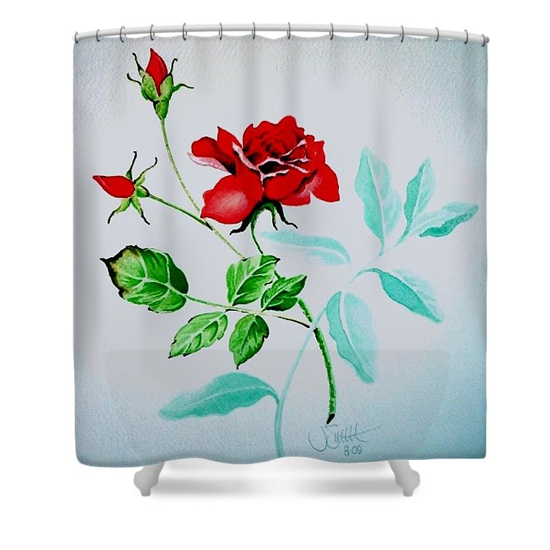 Roses Shower Curtain featuring the painting Red Roses by Jimmy Smith