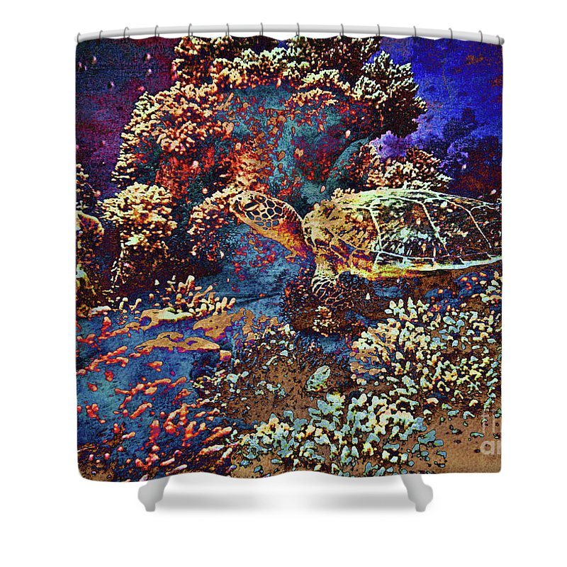 Underwater Shower Curtain featuring the mixed media Red Sea Turtle by Callan Art
