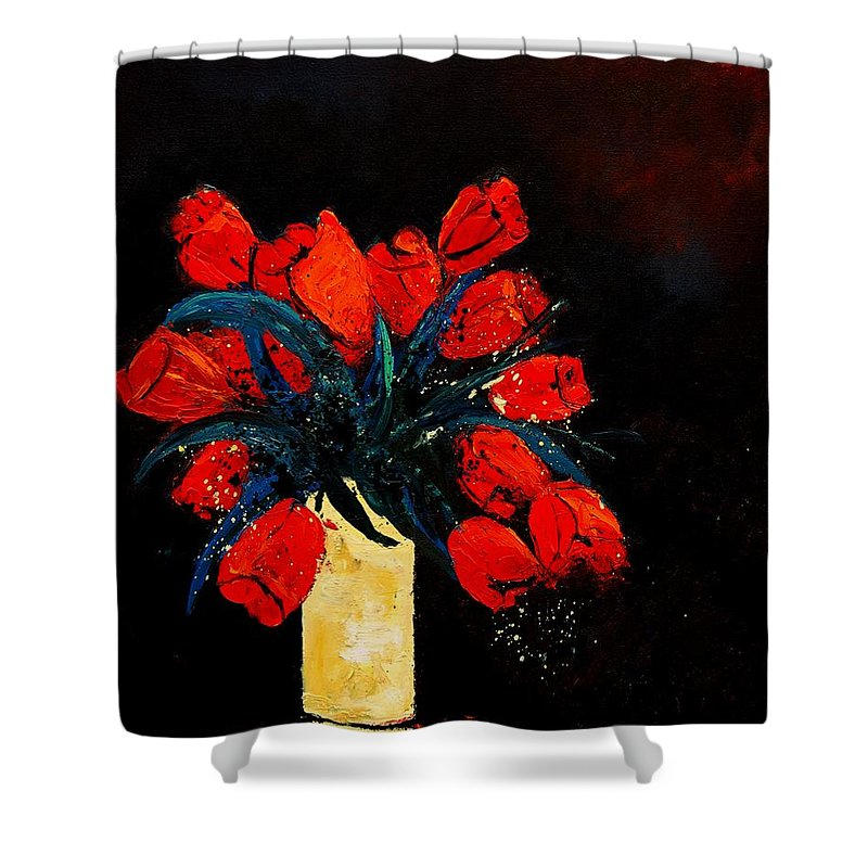 Flowers Shower Curtain featuring the painting Red Tulips by Pol Ledent