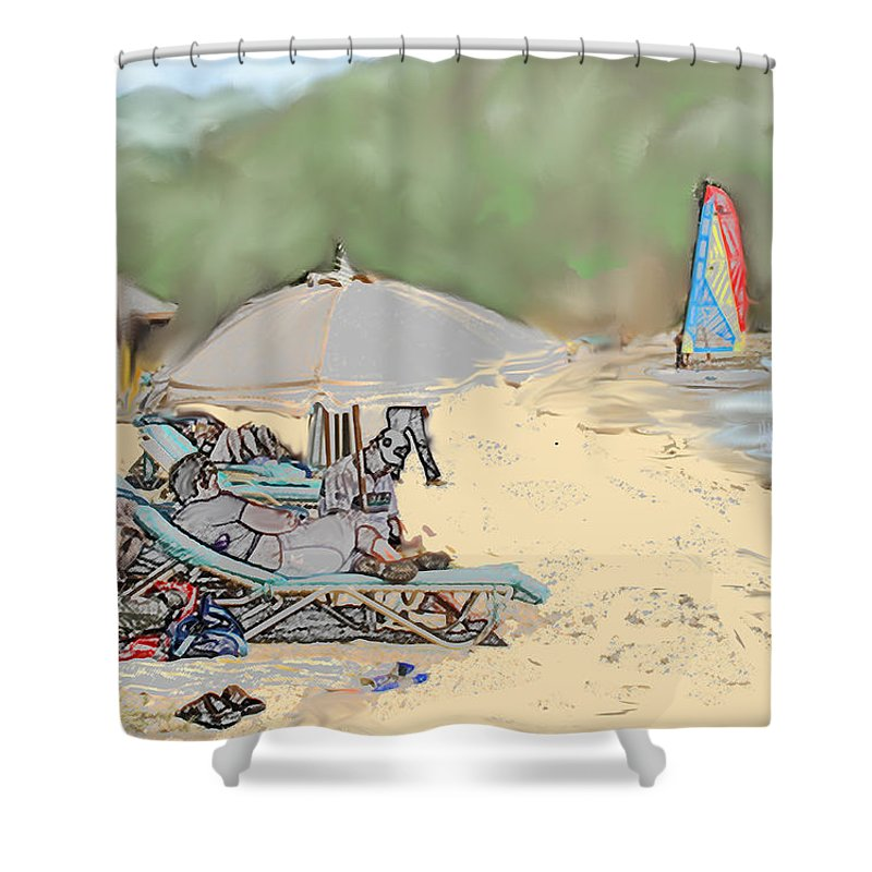 Beach. Toursts Shower Curtain featuring the digital art Reggae Beach by Ian MacDonald
