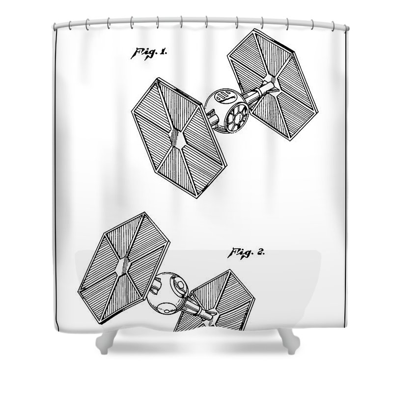 Star Wars Shower Curtain Featuring The Digital Art Restored Original Patent Drawing For Tie Fighter