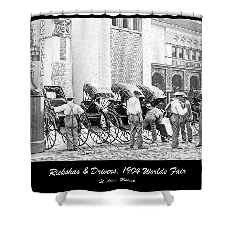 Two-wheeled Shower Curtain featuring the photograph Rickshas And Drivers, 1904 Worlds Fair by A Gurmankin