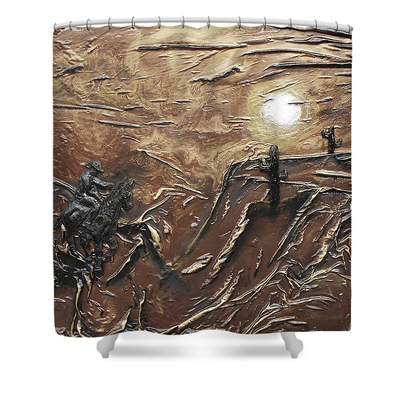 Abstract Art Shower Curtain featuring the mixed media Rider by Angela Stout