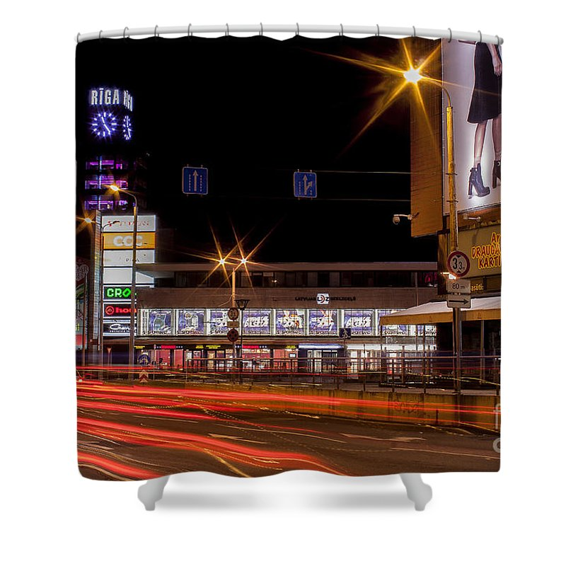 Riga Shower Curtain featuring the photograph Riga By Night by Christian Hallweger