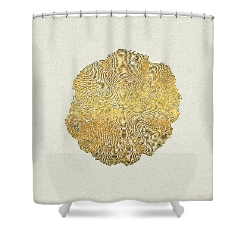 Inconsequential Beauty By Serge Averbukh Shower Curtain featuring the photograph Rings Of A Tree Trunk Cross-section In Gold On Linen 2 by Serge Averbukh
